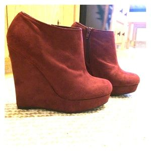 Suede booties- wine colored